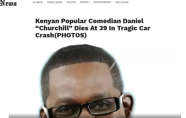 Popular comedian Churchill 'killed'