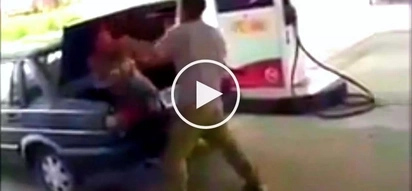 Violent husband brutally beats up his wife and forces her inside car trunk at gas station