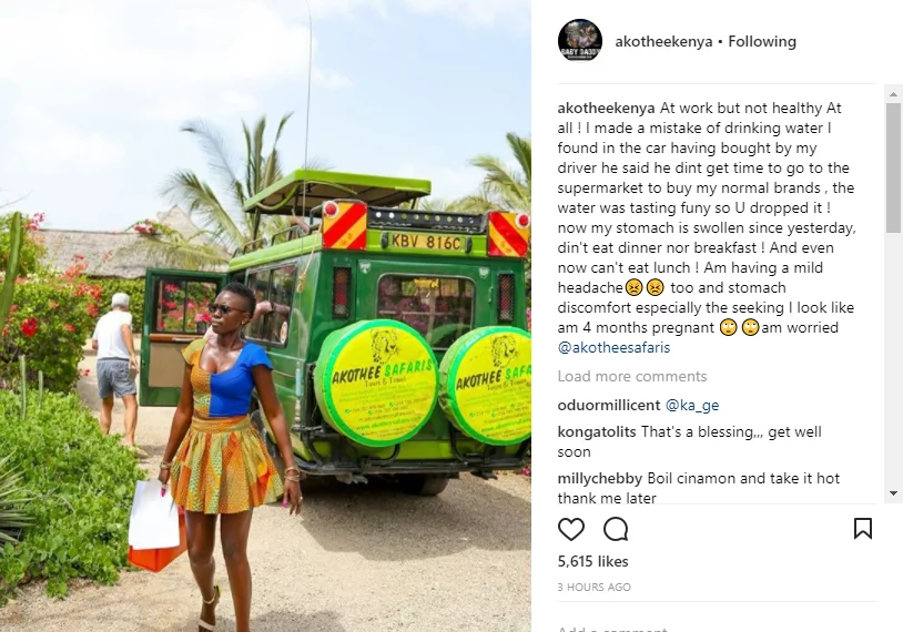 My stomach is swollen, I look like I'm 4 months pregnant - Akothee cries out