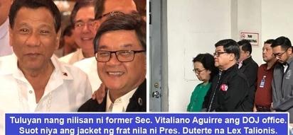 May pinapahiwatig ba siya? Aguirre wears Lex Talionis frat jacket during mass that marks end of his stint at DOJ