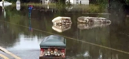 Here's why coffins floating down the streets in USA [PHOTOS]