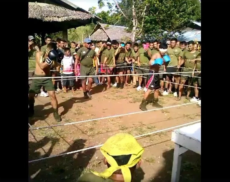 Military trainees battle in powerful boxing match