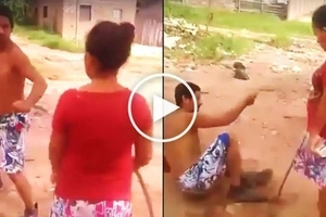 Strict wife viciously beats up her husband in front of his friends for getting too drunk
