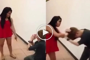 Furious girl violently kicks and punches her miserable boyfriend. He begs her to stop.
