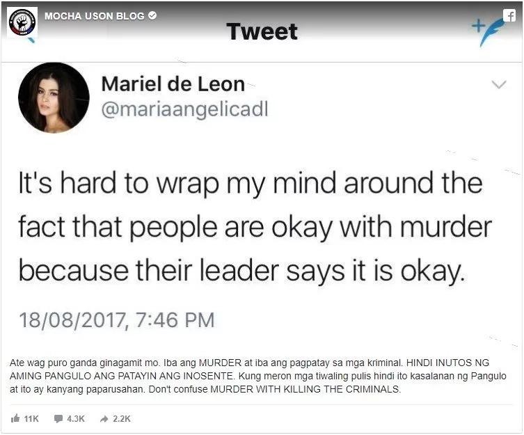 """Ate wag puro ganda ginagamit mo."" Mocha Uson insulted beauty queen Mariel De Leon!"