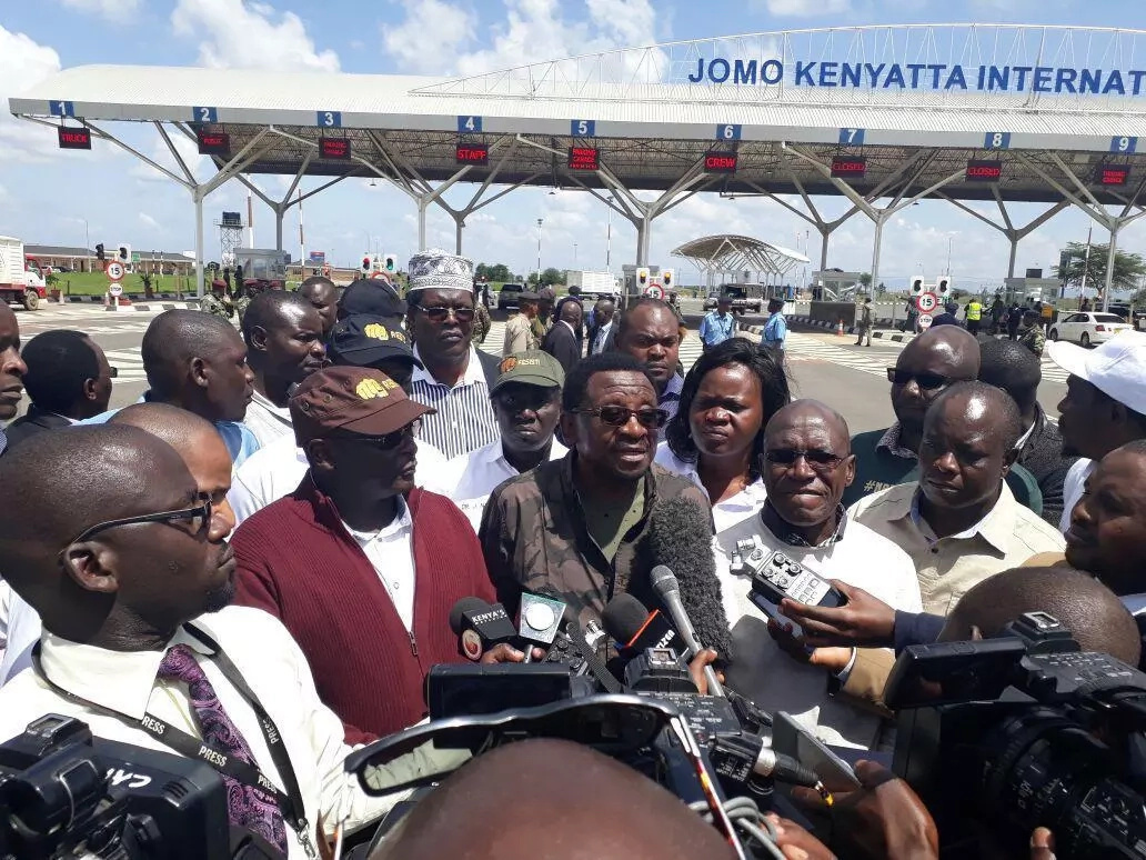 Raila Odinga lands at JKIA amid chaos in Nairobi