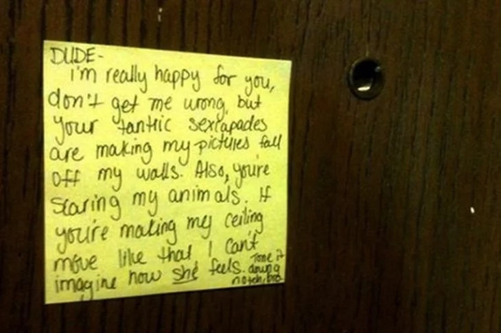 Hilarious notes sent to couples who made noise when doing IT