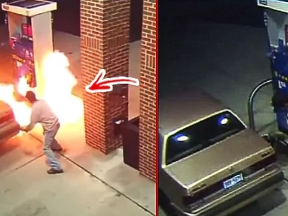Hala, lagot ka kuya! VIRAL VIDEO: Man sets gas station on fire, in an attempt to kill a spider