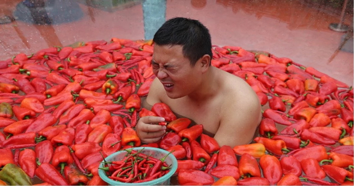 Feast of fire! Brave contestants eat chillies during bizarre competition, giving them 'burns' the wrong places