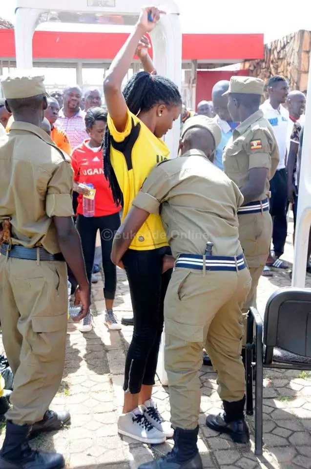 Uganda security conduct bizzare search on fans ahead of Uganda Cranes match
