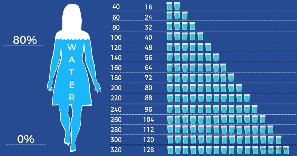 Calculate how much water you should drink according to your weight