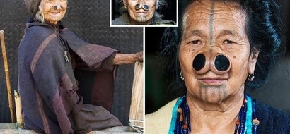 Women wear huge wooden NOSE PLUGS to make themselves ugly and avoid being kidnapped (see photos)