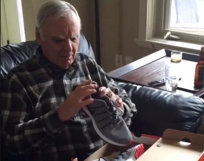 This old guy has the most hilarious reaction to receiving a pair of light up sneakers