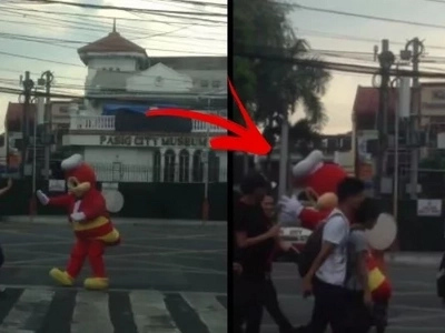 LOOK: Jollibee's Part-time Job Is Traffic Enforcing