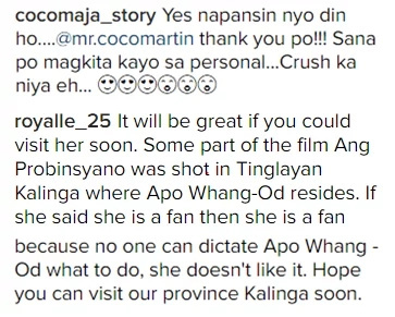 Whang-Od wishes to meet Coco Martin in the future