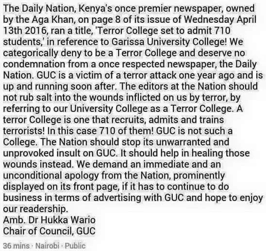 Anger as Daily Nation 'victim shames' Garissa University