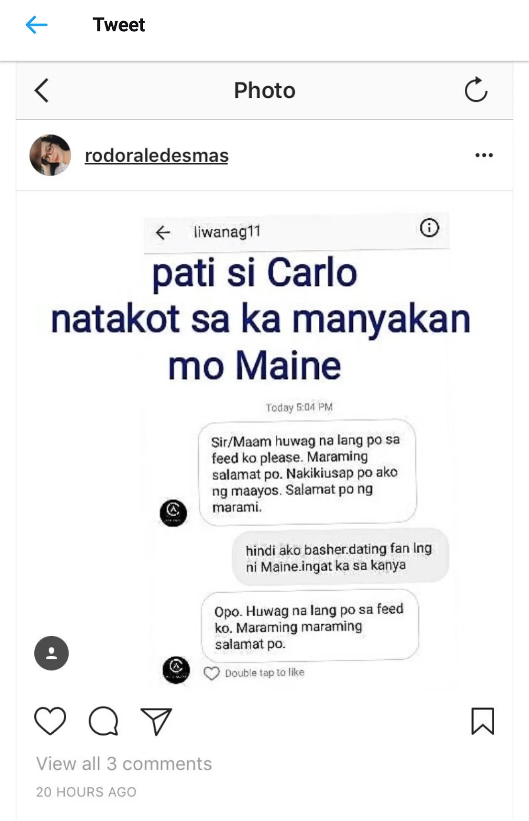 Isang tunay na gentleman! Carlo Aquino asks basher to stop the negative comments on other celebrities