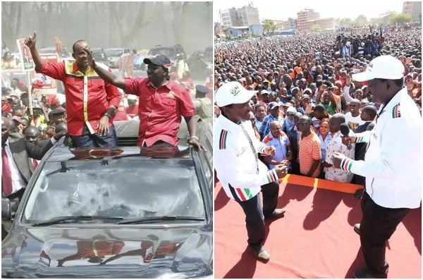 Raila and Ruto exchange BITTER words despite being in separate rallies