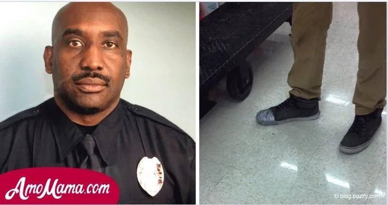 Viendo los zapatos sospechosos de este tipo, el policía entró en acción inmediatamente