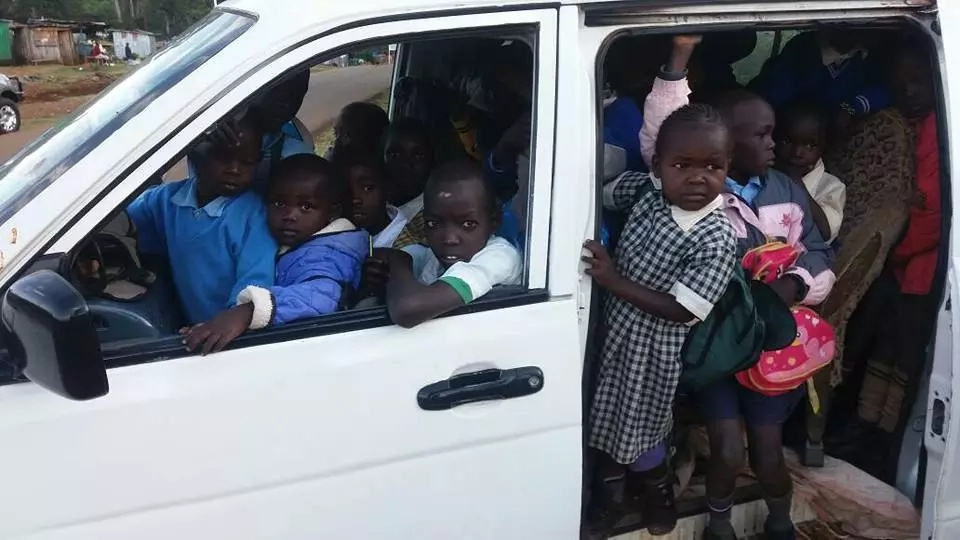 Road hog: 7 seater van intercepted while carrying 43 school children(photos)