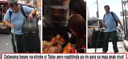 Hahamakin ang lahat para sa mga anak! Disabled father roams Makati to sell all kinds of 'kakanin' just to pay his children's tuition fees