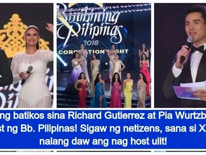 Trying hard daw! Netizens criticize Richard Gutierrez and Pia Wurtzbach's hosting stint at the Bb. Pilipinas coronation night