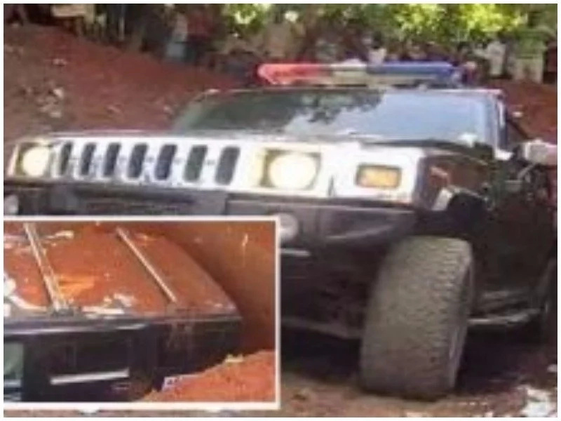 Shock as billionaire buries his mom in Hummer Jeep, splashes the expensive 'coffin' with dollars