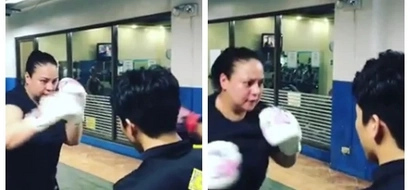 Watch Daniel Padilla's mother Karla Estrada try to lose weight through intense boxing drill!