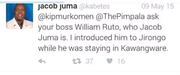 William Ruto stayed in Kawangware- Jacob Juma