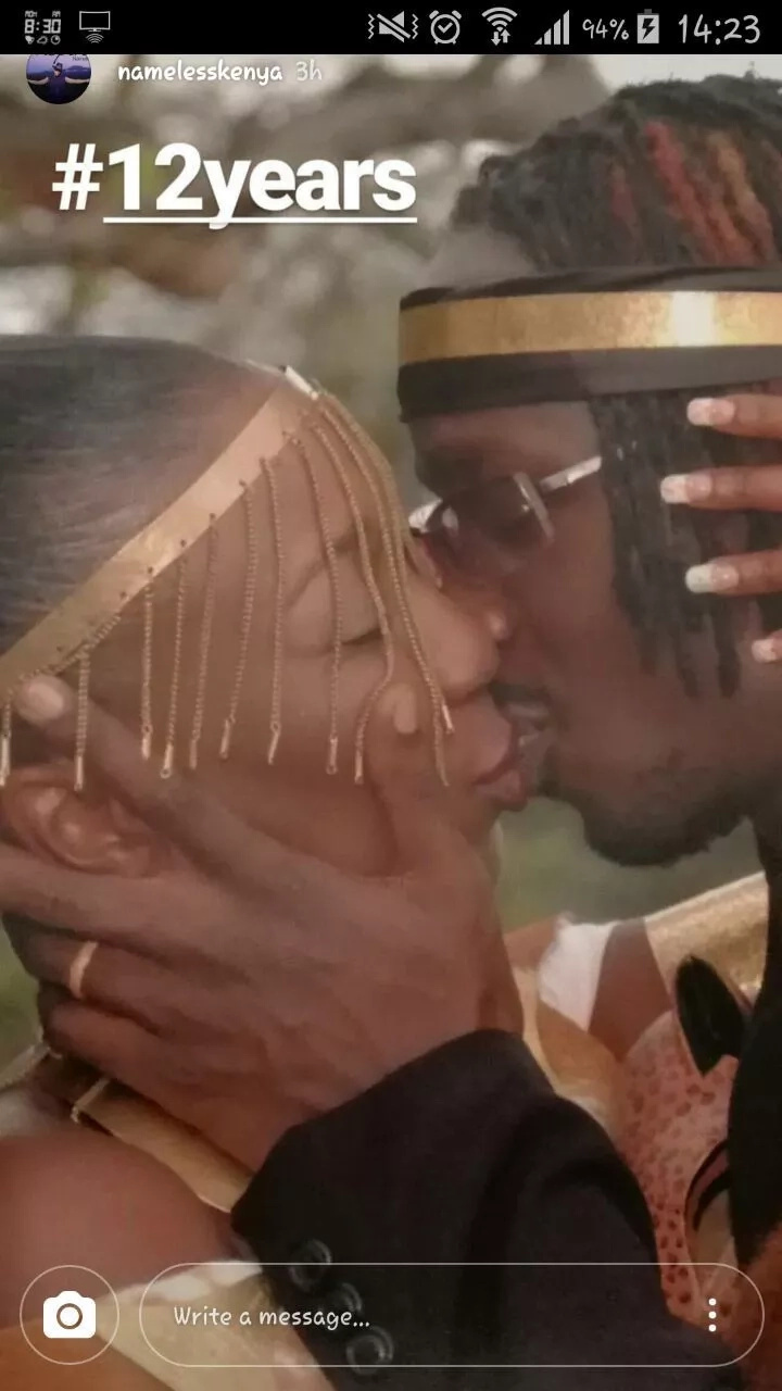 Nameless and Wahu celebrate 12 years anniversary with a kiss