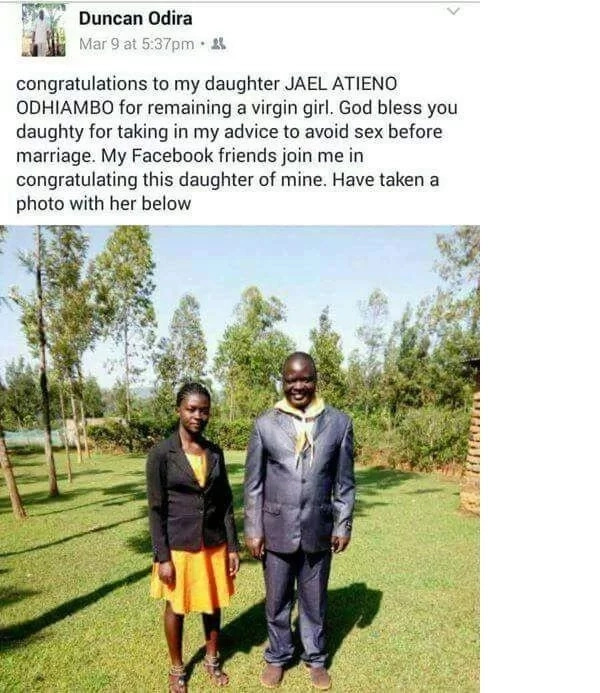 Father stuns Kenyans by revealing on Facebook his all grown daughter is a virgin