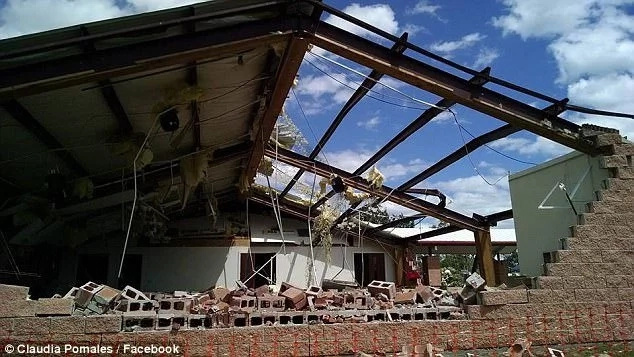 The tornado tore off the roof of the church