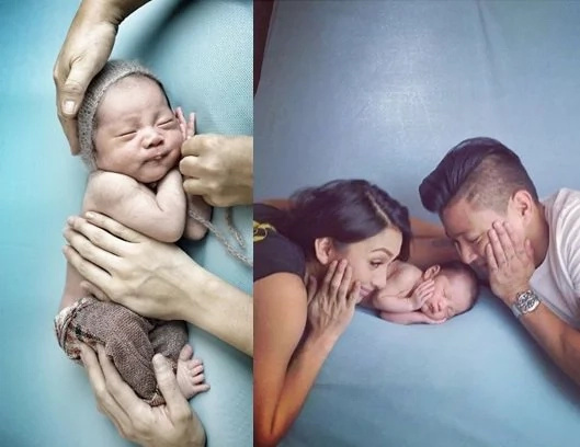 Drew and Iya post newborn photos of baby Primo on Instagram