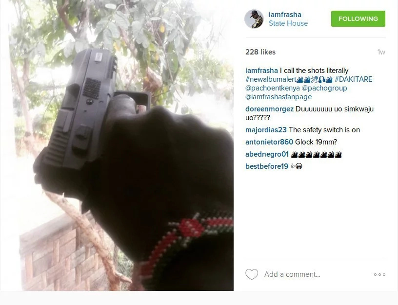 Kenyan singer flaunts a gun on social media