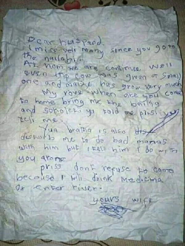Village wife sends the most honest letter to her husband in Nairobi