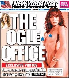 ¡Escándalo! Esposa de Trump desnuda en el New York Post