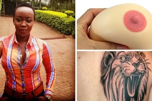 Oh lala! Top Citizen TV news anchor shows off  the tattoo on her left boob (photo)