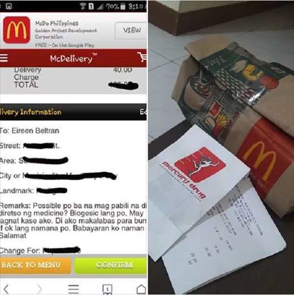 McDonald's delivery goes the extra mile for sick customer