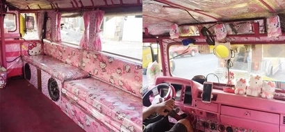 Pink na pink! Hello Kitty fans will have a wonderful time riding this themed jeepney