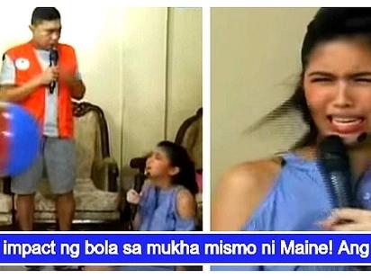 Maine Mendoza, tinamaan ng bola sa mukha sa isang segment ng Eat Bulaga!