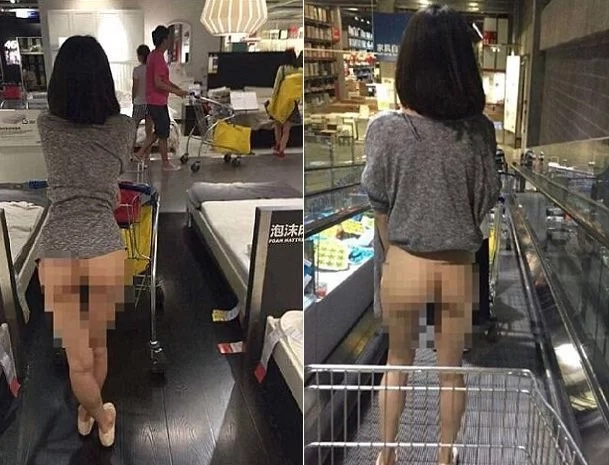 Half naked woman shops in IKEA
