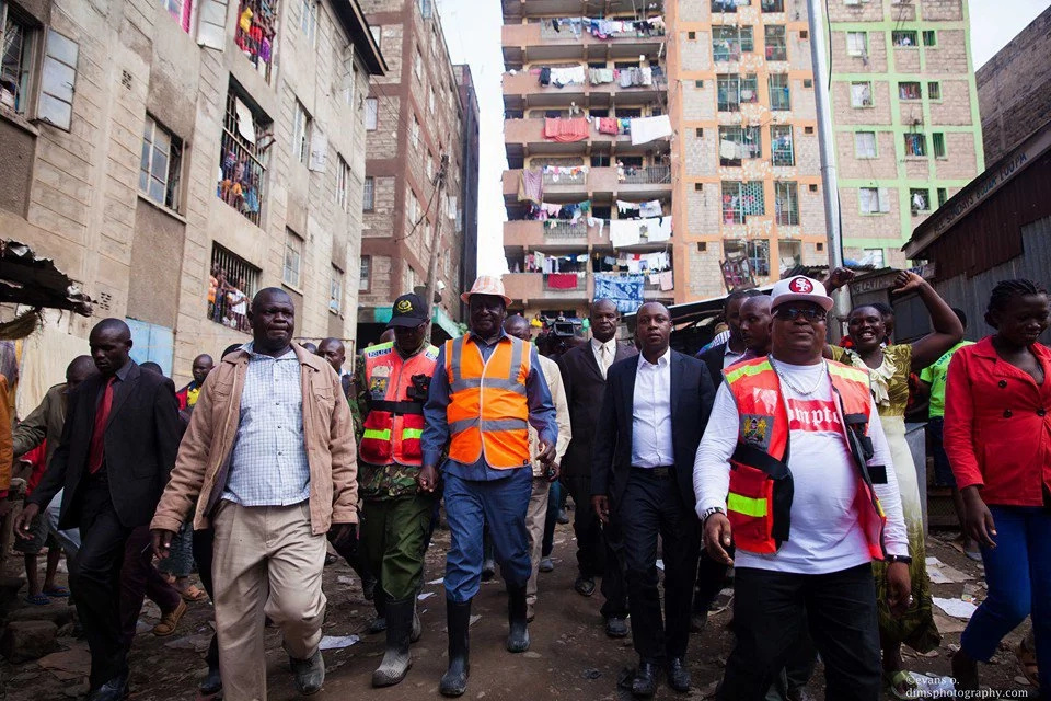 CORD leaders taken through the squalid life in Huruma estate