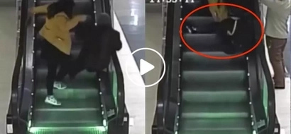Dapat ganito! Security officer saves this old lady from falling off an escalator in the shortest time possible