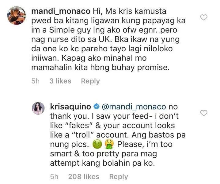 Hindi siya papabola! Kris Aquino responds to creepy netizen who wants to be her suitor