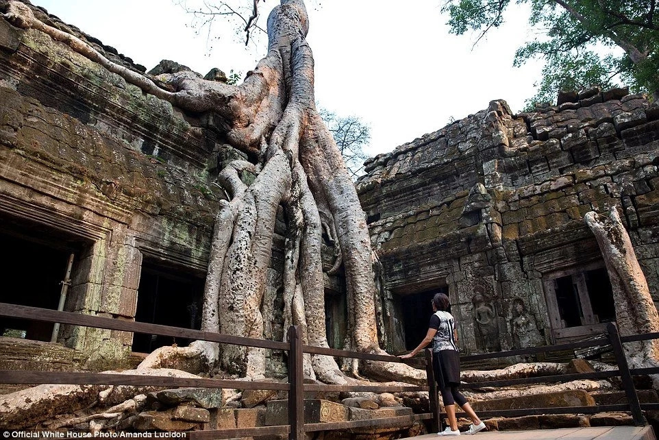 Obama pictured at Ta Phrom temple in Siem Reap, Cambodia. Photo: Amanda Lucidon