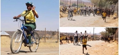 Pupils who walked up to 12km to school every day receive bicycles to make journey more bearable