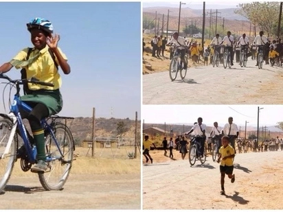 Pupils who walked 12km to school every day receive bicycles to make journey more bearable
