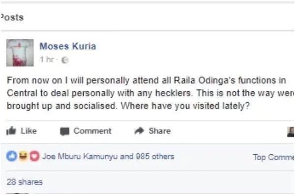 Ahadi ya Moses Kuria baada ya Raila Odinga kupigwa mawe Thika