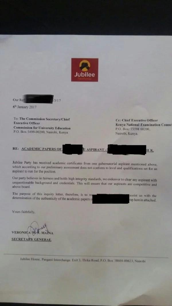 Has Jubilee rejected influential gubernatorial aspirant over VERY POOR KCSE performance