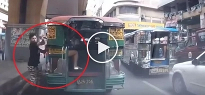 Daring Pinoy snatcher steals smartphone from female jeepney passenger in Manila